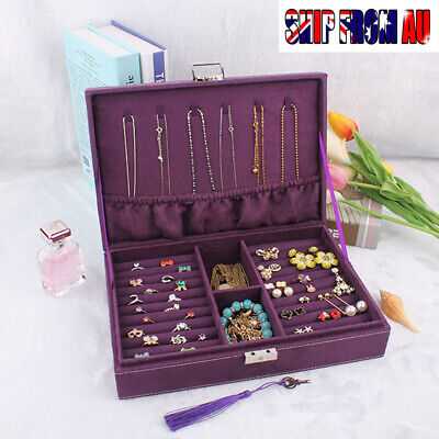 Large Velvet Wood Display Jewelry Stroge Box Organizer Ring Bracelet Case New