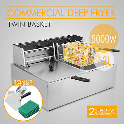 5000W 12L Commercial Electric Deep Fat Chip Fryer Dual Tank Stainless Steel