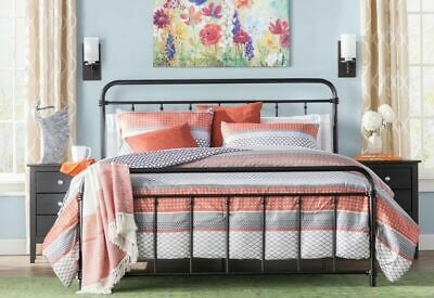 Metal Bed Frame KING Farmhouse Iron Vintage Mid Century Rustic Country Style Blk