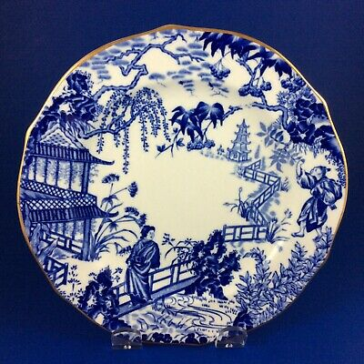 "Royal Crown Derby Blue Mikado Bone China 7"" Dessert Plates"