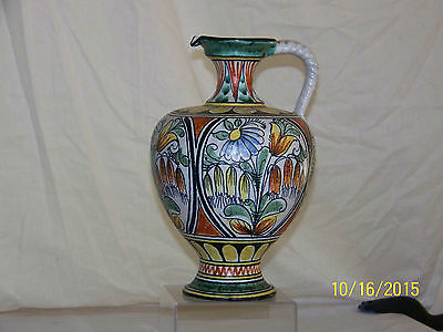 "German Amphora Hand Painted ""Large"" Urn Mid-Century Art Pottery"