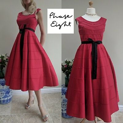 Phase Eight 8 Vintage Cherry Red Cotton 1950s Style Full Skirt Dress UK 16 US 12