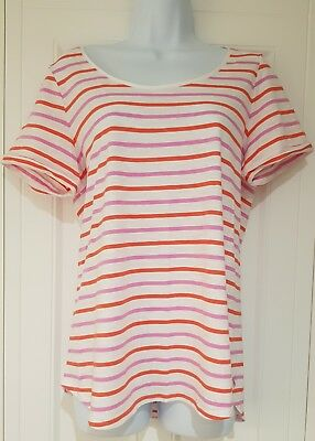 Womens Joules Short Sleeve Cotton T Shirt Red White Pink Stripes 12 Vgc.