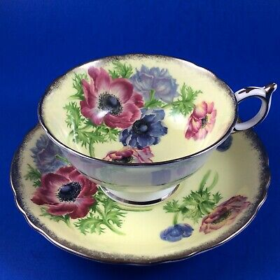 Paragon Anenomes On Butter Yellow Fine Bone China Tea Cup And Saucer