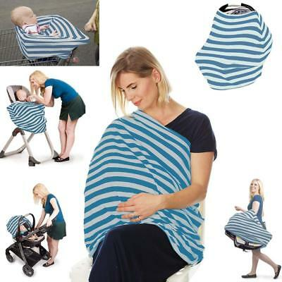 Nursing Cover Infinity Scarf Car Seat Cover Carseat Canopy (Teal and Grey Stripe