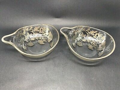 Two Lovely Vintage Glass Bowls / Nibble Dishes With Silvered Overlay
