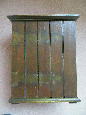 Vintage Wooden Box With Panelled Front And Brass Hinges Hanging Or Standing