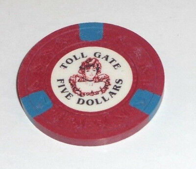 Vintage TOLL GATE CENTRAL CITY $5 CHIP 1st Issue Horse Head Right Mold Maroon!