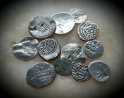 12 Ancient Mostly Silver Hammered Islamic Coinage 17Th - 19Th Century A.d.