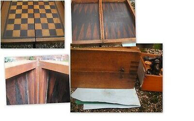 Antique late 19th century French wooden inlaid chess board