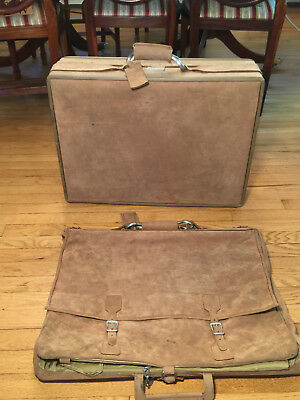 Vtg Lot 2 HARTMANN by HALSTON Beige Suede SUITCASE LUGGAGE & GARMENT/TRAVEL BAG