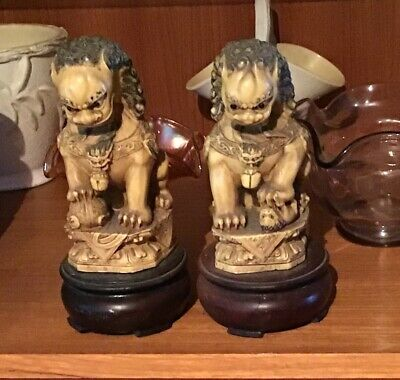 Pair Of Foo Dogs Lions  Great Condition 19 Cm Tall