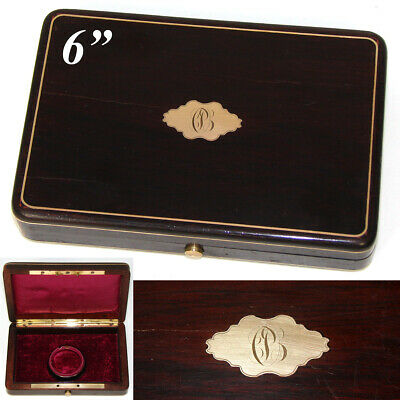 Antique French Solid Rosewood & Brass Inlay Coin or Pocket Watch Box, Case, Etui