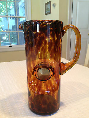 VTG Mid-Century Modern TORTOISE LEOPARD AMBER BROWN ART-GLASS MARTINI PITCHER
