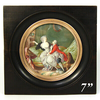 Large Antique French Marie Antoinette Era Miniature Painting, Romantic Interior