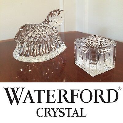 Lot of 2 Vintage Signed WATERFORD CRYSTAL Babies Rocking Horse & Play ABC Block