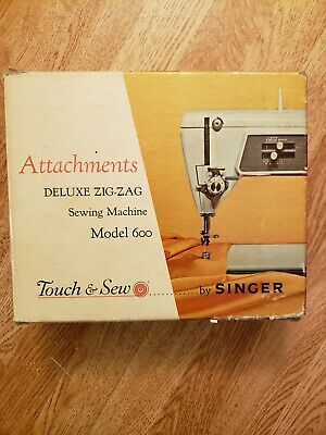 Vintage Singer Sewing Machine Attachments Model 600 Touch Sew Deluxe Zig Zag