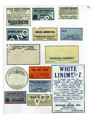 Vintage Primitive Shabby Pharmacy Labels # FH37