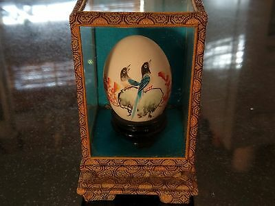 Antique Asian Hand Painted Artist Signed Egg..Couples Good Luck