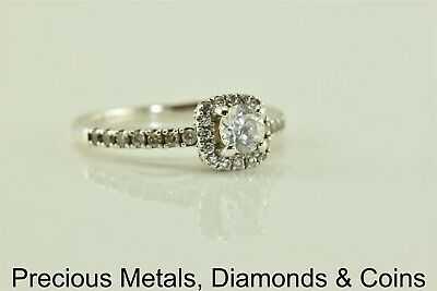 Sterling Silver Cubic Zirconia Solitaire w/Accented Band Halo Ring 925 Sz: 4