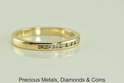 14k Yellow Gold 2.2mm .10tcw Channel Set Diamond Band Stackable Ring Sz: 5