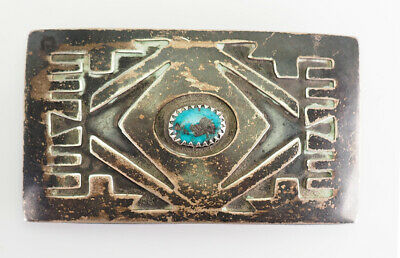 Antique sterling silver turquoise Native American hand made belt buckle