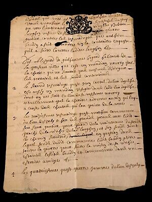 RARE Signed and Handwritten Document 1688