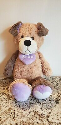 ANIMAL ADVENTURE 2014 Brown Plush Stuffed PUPPY Dog Hearts Purple XOXO.