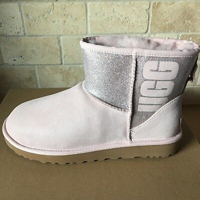 16cb77bad4c14 UGG Classic Mini Sparkle Logo Graphic Seashell Pink Suede Boots Size 6  Womens