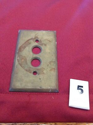 1 Vtg Brass Single Gang Push Button Wall Light Switch Plate Cover - ct - B5