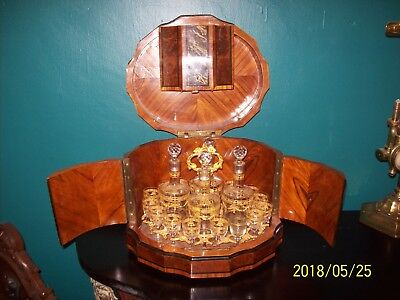 Antique French Brass Inlaid Tantalus Liquor Cabinet 4 decanters 15 glasses