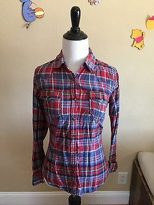 H&M LOGG Women's Red and Blue Plaid Button Front Shirt Size 2