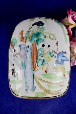 Antique Chinese Hand Painted Porcelain Shard Silver Plated Keepsake Box