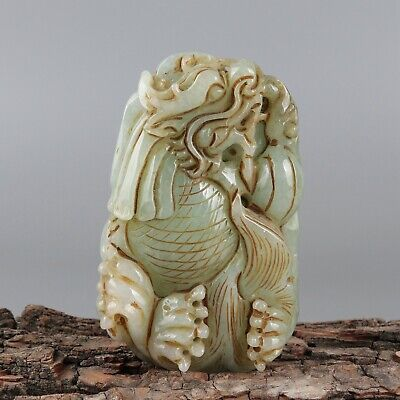 Chinese Exquisite Hand-carved Dragon fish Carving jadeite jade Pendant
