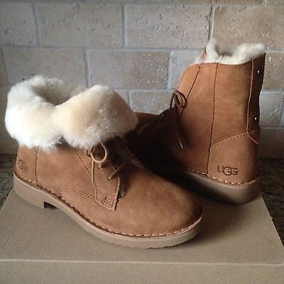 4b993b65fd4 UGG QUINCY CHESTNUT Suede Sheepskin Lace up Ankle Boots Shoes US 8.5 ...