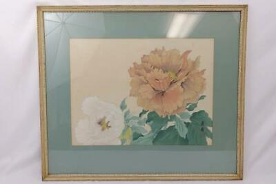 Vintage Framed Chinese Peonies Hand Painted Engraving Signed With Red Chop Mark