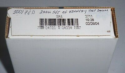 2001 P & D Kennedy Half Dollar 2 ROLL SET  Sealed Mint Box - 5A4, NEVER OPENED