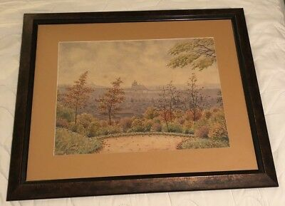 Vintage Original Lithograph of Monastery, Signed by Czech Artist Jan Vilka