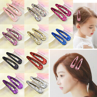 2Pc Glitter Multi-color Sequins Hairpins Snap Hair Clip Barrettes for Baby Girls