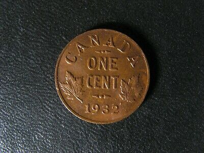 1 cent 1932 Canada one small penny copper King George VI c ¢ Cleaned VF-35