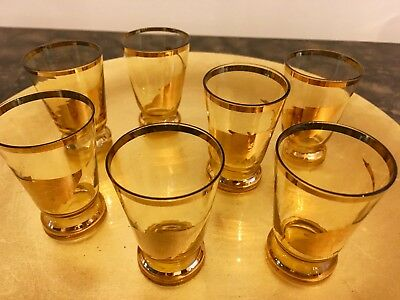 Vintage Amber Gold Rimmed Gold Leaf Shot Glasses, Set of 7