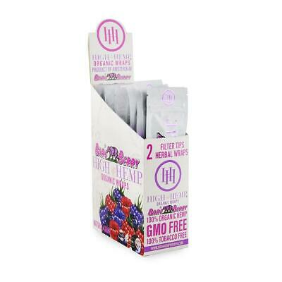High Hemp Organic Wrap 25 Pouch in Box 2 in a Pouch 50 Wraps - Bare Berry