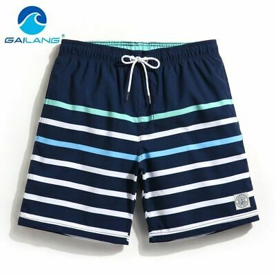 Striped Beach Shorts Trunks Board Swim Boxer Swimwear Pants Men Quick Dry Plus
