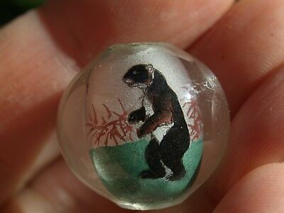 One Large Vintage Chinese Reverse Painted Glass Beads Black Bear 20mm Round