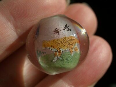 One Large Vintage Chinese Reverse Painted Glass Bead Leopard 20mm Round