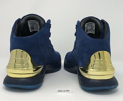 664ea597664a Men UNDER ARMOUR Curry 1 Lux Mid Suede Navy Gold Shoe 1296617-997 Size 8