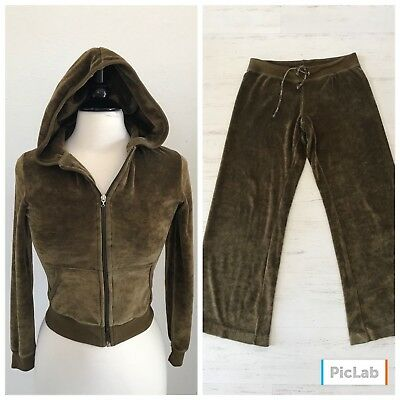 VTG 80s Max Studio Olive Velour 2-PC Track Suit Womens -XS/S