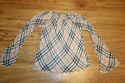 Genuine Burberry Blouse Nova Check, Silk, Size 8 Years-128 Excellent Condition