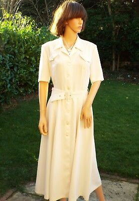 Vintage French 80s cream belted day shirt dress 50s style Shirtwaister Daniel D