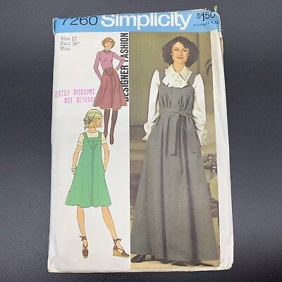 Simplicity Vintage Sewing Pattern #7260 Misses Jumper Skirt and Scarf Size 12